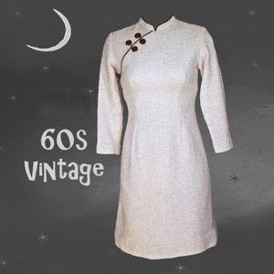 60s Vtg Fall Wool Chinese Cheongsam Dress